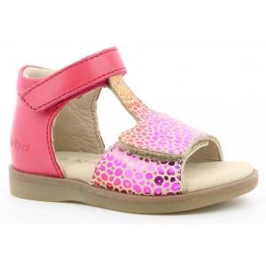 Sandale Kickers Giusticia Beige Rose Multicolor