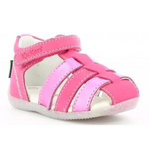 Sandale Kickers Bigflo 2 Dark Pink Flower Metal