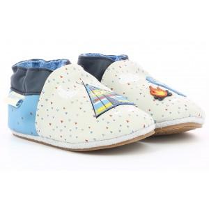 Pantofi Robeez Indian Tipi Beige Bleu