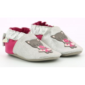Pantofi Robeez Cat In Love Argent Fuchsia
