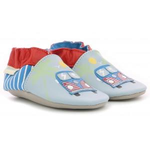 Pantofi Robeez Road Trip Bleu Beige Rouge