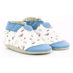 Pantofi Robeez Beautiful Boat Blanc Bleu