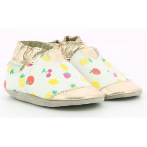 Pantofi Robeez Gold Summer Blanc Or