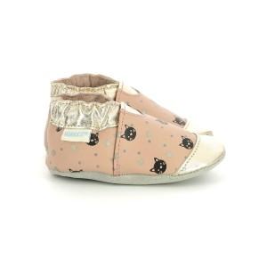 Pantofi Robeez Cat Dots Rose Or
