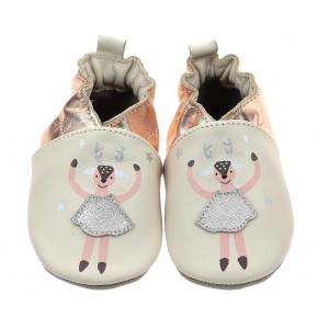 Pantofi Robeez Doe Ballet Beige Clair Peche