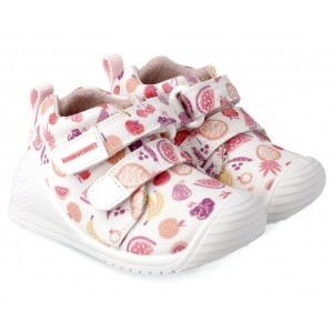 Sneakers Biomecanics 212210 B Blanco y Frutas Pique y Estampado