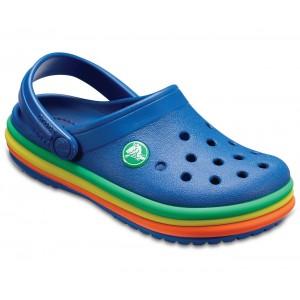 Șlapi Crocs CB Rainbow Band Clog K Albastru