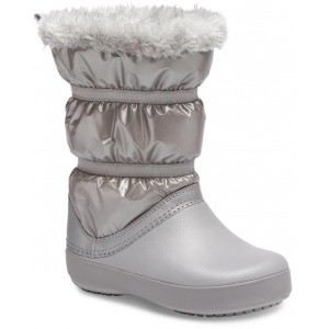 Cizme de zapada Crocs CB LodgePoint Metallic Boot G Silver Metallic