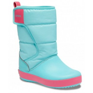 Cizme de zapada Crocs LodgePoint Snow Boot K Ice Blue Pool