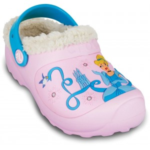 Șlapi Crocs Cinderella Lined Custom Clog Bubblegum/Light Blue