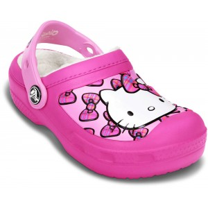Șlapi Crocs CC Hello Kitty Bow Lined Clog Neon Magenta