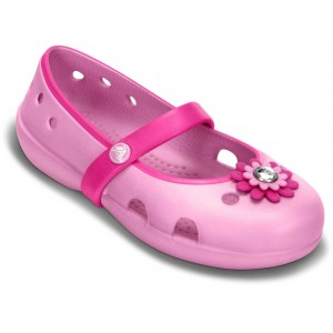 Sandale Crocs Keeley Petal Charm Flat PS Neon Magenta-Carnation
