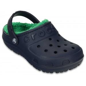 Șlapi Crocs Hilo Lined Clog Kids Navy/Grass Green
