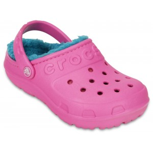 Șlapi Crocs Hilo Lined Clog Kids Party Pink/Turquoise