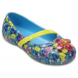 Sandale Crocs Lina Graphic Flat K Electric Blue