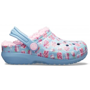 Șlapi Crocs Classic Lined Graphic Clog K Chambray Blue/Carnation