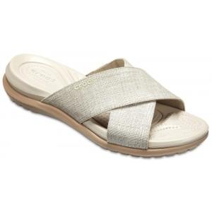 Șlapi Crocs Capri Shimmer Xband Sandal W Oyster/Cobblestone