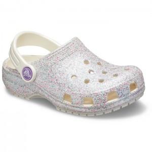 Șlapi Crocs Classic Glitter Clog K Oyster