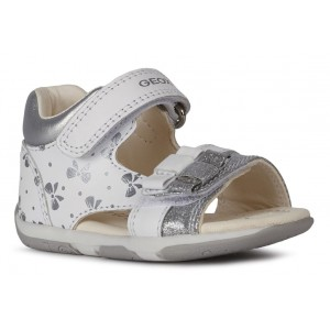 Sandale Geox Baby Tapuz Girl White Silver