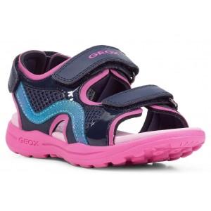 Sandale Geox J Vaniett Girl Navy Fuchsia