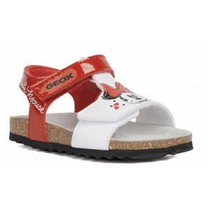 Sandale Geox B Chalki Girl Red White