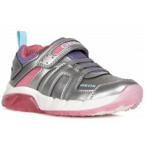 Sneakers Geox J Spaziale Girl Dark Silver Fuchsia